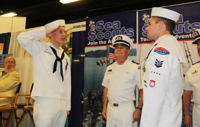 The 2014 National Boatswain Change of Watch in Nashville, Tennessee. From Left to Right National Commodore Mr. Charles Wurster, 2014-2015 National Boatswain Peter Schmidt, 2013-2014 National Boatswain Billy McElligott, and National Director Mr. Keith Christopher.