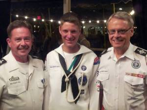 The 2014 Koch Cup Awards Ceremony. From Left to Right National Director Mr. Keith Christopher, National Boatswain Peter Schmidt, and Chief Scout Executive Mr. Wayne Brock.