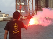 Flare practice at Safety at Sea San Francisco.